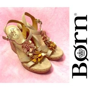 Born Leather Floral Wedges